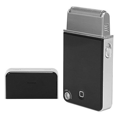 Rasoio elettrico da uomo per barba, ricaricabile, USB, ultra sottile, colore: nero