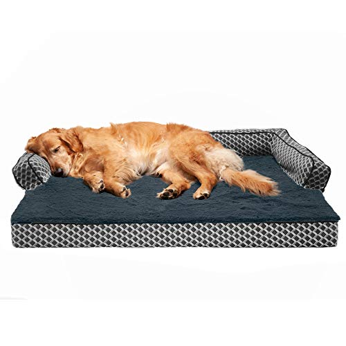 Furhaven Pet Dog Bed - Cooling Gel Memory Foam Plush Faux Fur and Décor Comfy Couch Traditional Sofa-Style Living Room Couch Pet Bed with Removable Cover for Dogs and Cats, Diamond Gray, Jumbo