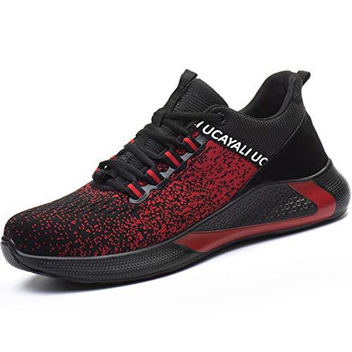 UCAYALI Arbeitsschuhe Herren Sicherheitsschuhe Damen Leicht Atmungsaktiv Schutzschuhe Stahlkappe Sneaker Unisex Rot 40