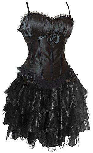JL Corset Strapse Corsage Kleid Mini Rock Petticoat Korsett (EUR(40-42) 2XL, Schwarz)