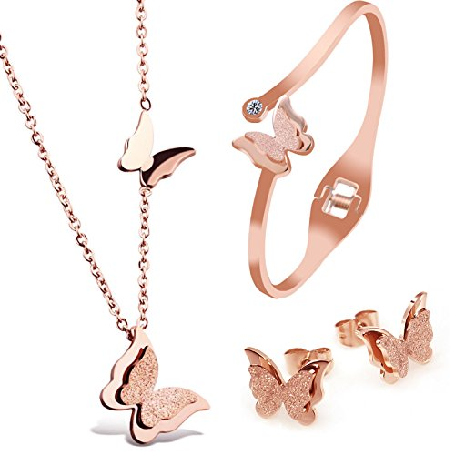 Parure de bijoux Kim Johanson en acier inoxydable pour femme - Collier avec pendentif, boucles d'oreilles et bracelet en or rose - Sertie d'un cristal - Bijou bohème avec pochette à bijoux