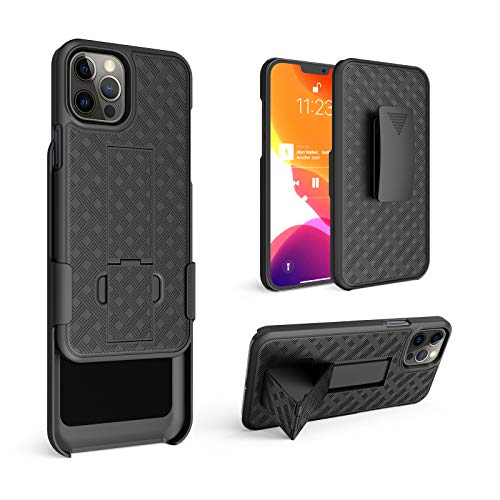 HIDAHE Compatible with iPhone 12 Pro MAX(6.7'), Combo Shell & Holster Slim Shell Case for Men with Built-in Kickstand + Swivel Belt Clip Holster for Apple i-Phone 12 Pro MAX 6.7'' ONLY, Black