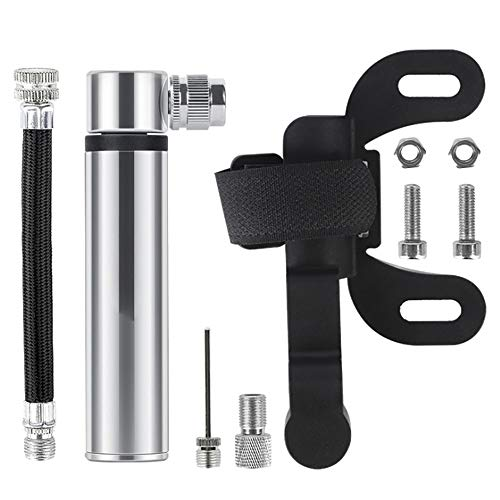 MiOYOOW Mini Bicycle Pump, 120PSI High Pressure Bicycle Tire Pump Compact Bike Pump Fast Air Pump with Presta & Schrader Inflation Needles