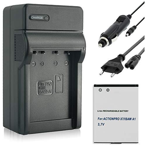 Akku + Ladegerät (KFZ, Netz) für ISAW 083443A / A1, A2 Ace, A3, Advance, Extreme/Actionpro X7