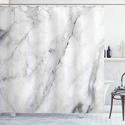 ABAKUHAUS Marmor Duschvorhang, Granit Oberflächenmotiv, mit 12 Ringe Set Wasserdicht Stielvoll Modern Farbfest & Schimmel Resistent, 175x220 cm, Weiß Grau Sand