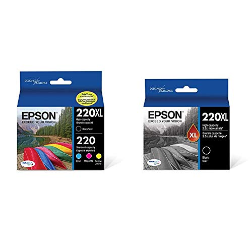 Epson T220XL-BCS Cartridge Ink, 4 Pack, Black, Cyan, Magenta, Yellow & T220XL120-S DURA Ultra Black High Capacity Cartridge Ink