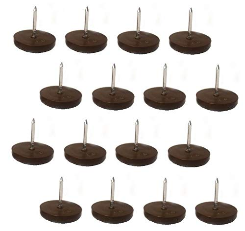 3/4' Furniture Chair Nail Feet Glides Protect Floor (Brown) - Pack of 100