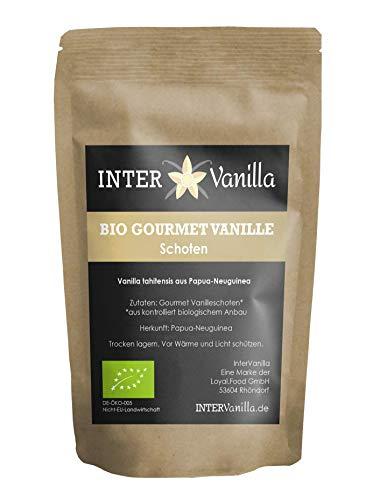 InterVanilla BIO Gourmet Vanilleschoten aus Papua-Neuguinea, 10 Stück á 14 cm. Günstige Vanilla Tahitensis. Alternative zu Bourbon Vanille Schoten oder Tahiti Vanilleschoten.