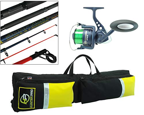 Hunter Pro 10ft Telescopic Sea Fishing Rod, Sea Reel and Holdall Carry Bag British Made