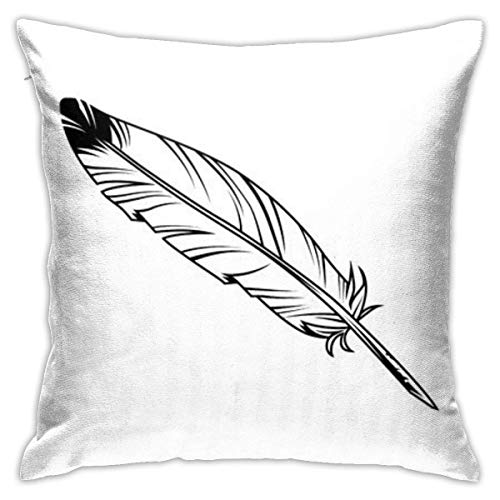Vintage Monochrome Feather Pen Pillowcase, Double-Sided Printing, Hidden Zip Pillowcase, 18inch18inch Beautiful Printed Pattern Pillowcase