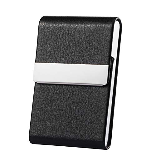Business Card Holder Case Professional Luxury PU Leather & Stainless Steel Metal Name Card Holder Credit Card ID Wallet for Men & Women with Magnetic Shut(Black)