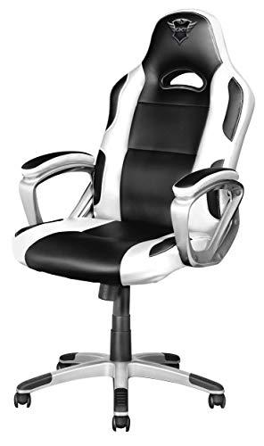 Trust GXT 705W Ryon Silla Gaming ergonómica, diseñada para jugar cómodamente durante horas, blanco