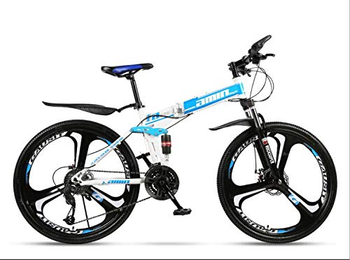 COUYY Double Shock 26 inches White Blue, Mito Folding Mountain Bike Wheels, Double disc Mountain Bike Bicycle Adult Male and Female Students,30 Speed