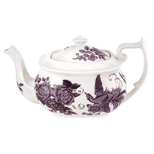 Spode Kingsley Teapot (2 Pint)- White Sepia Design- Earthenware
