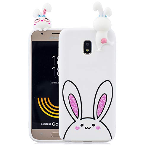 Yobby Cover per Samsung Galaxy J3 2017/J330,Bianca Silicone 3D Cartoon Animali Disegni Custodia,Ragazza Bambini Carino Kawaii Coniglietto Case,Morbida Flessibile Gomma Gel AntiGraffio Cover