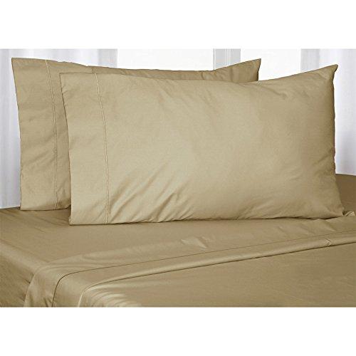 400hilos 4piezas Juego de sábanas (Taupe sólido, tamaño Euro rey IKEA, Pocket Size 18cm) 100% de algodón egipcio Calidad premium