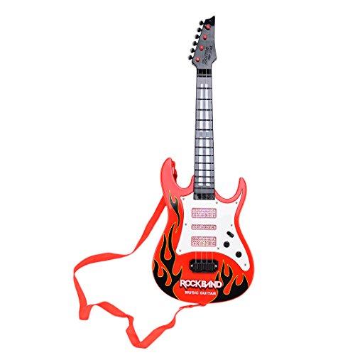 Kinder Gitarre, Hipsteen 4 Streicher Rock Band Elektrische Rock Gitarre Music e-Gitarre Kinder Musikinstrumente Pädagogisches Spielzeug Kids Guitar - Rot Flame
