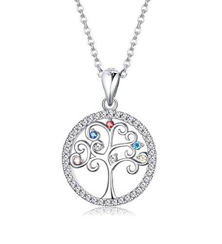 LOLIAS 925 Silber Baum des Lebens Halskette für Damen Mädchen Zirkon Multicolor Halskette Weihnachten Valentinstag Muttertagsgeschenk Schmuck für Damen (mit Box)