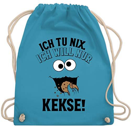 Shirtracer Karneval & Fasching - Ich tu nix. Ich will nur Kekse! - schwarz - Unisize - Hellblau - turnbeutel kekse - WM110 - Turnbeutel und Stoffbeutel aus Baumwolle
