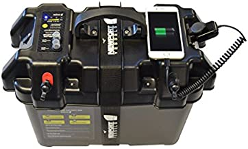 Newport Vessels Trolling Motor Smart Battery Box Power Center with USB and DC Ports, Black, Medium