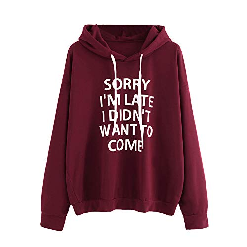 Learn More About HNTDG Women O-Neck Hooded Drawstring Jumper Long Sleeve Letter Print Sweatshirt Pul...