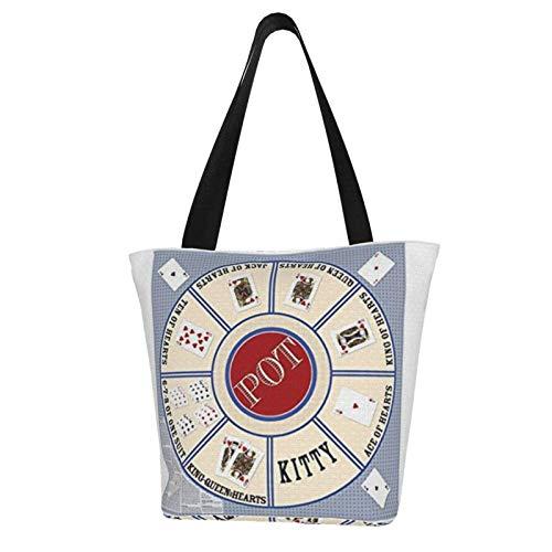 Kartenspiel Stoff Rommé Royal Game Frauen Mode Casual Canvas Tote Bag Einkaufstasche Handtasche Einkaufstasche