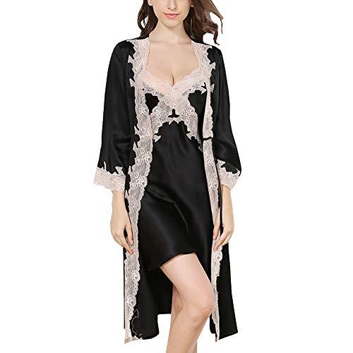 DISSA Damen Seide Nachtwäsche Nachthemd 100% Seide Spitze Seidenkleid Ohne Arm S5503,Schwarz-2 Pcs,XL