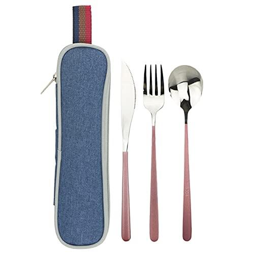 4 unids Set de cubiertos de viaje negro Gordo Vajilla 304 Cuchillo de vajilla de acero inoxidable Cuchara de cuchara Conjunto con bolso de palillos de paja de metal (Color : Pink Silver Blue Bag)