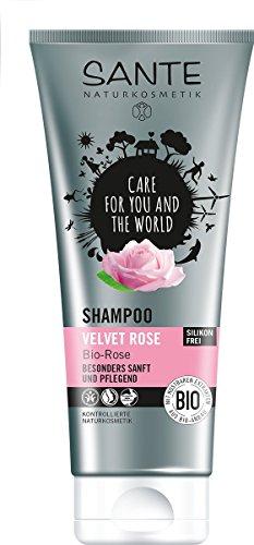 SANTE Naturkosmetik Shampoo Velvet Rose, Besonders sanft & pflegend, Für jeden Haartyp, Tägliche Pflege, 1x200ml Doppelpack