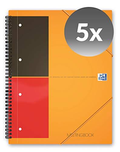 Oxford Meetingbook International 5er Pack im Format A4 liniert mit 80 Blatt 2 in 1 Collegeblock und Gummizugmappe in orange