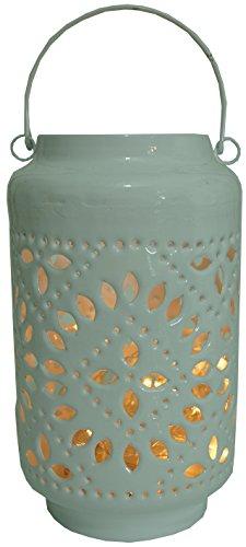 Guru-Shop Metall-Laterne, Windlicht, Gartenlaterne, Weiß, Farbe: Weiß, 25x15x15 cm, Teelichthalter & Kerzenhalter