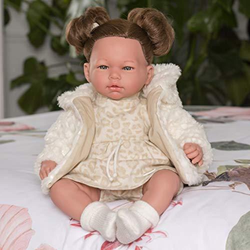 Puppen Guca - pop Erika jurk Animal Print oker met gemêleerde mantel van wit haar. 46 cm, meerkleurig (890)