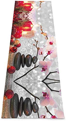 Toalla De Yoga Antideslizante,Invierno Navidad Rosa Orquídea Piedra Velas Impresión Eco-Friendly Fitness Ejercicio Estera,Esteras De Meditación,Ejercicios De Piso Impresos &Alfombra De Aptitud Pil