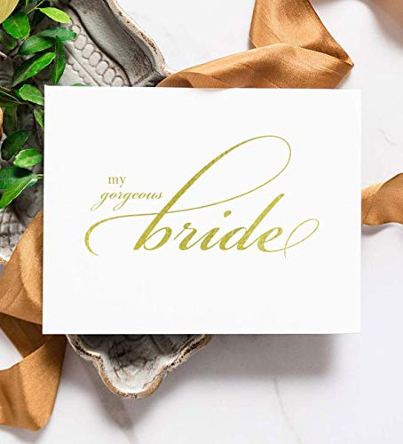 Bride & Groom Cards - Gold Foil - To My Bride On Our Wedding Day - Card to Groom - Cards to Each Other - With White Envelopes, Bride & Groom Set (OPPOSITES ATTRACT)