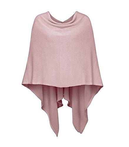 Cashmere Dreams Poncho-Schal aus Baumwolle - Hochwertiges Cape für Damen - Umhängetuch und Tunika - Strick-Pullover - Sweatshirt - Stola für Sommer und Winter Zwillingsherz,Einheitsgröße,Altrosa
