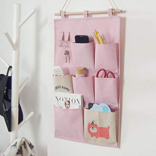 Sacco a Pelo in Cotone Sacchetto di Immagazzinaggio in Camera da Letto Appeso a Muro 7 Tasche Sacchetto di Smistamento per Comodini SaccoAppeso per Cucina, Pink, 34.5 * 49.5CM