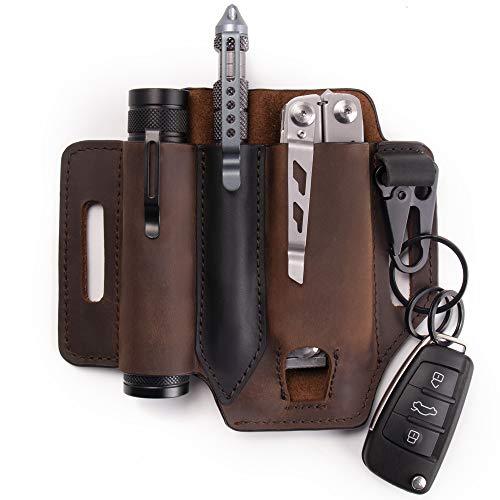 Gentlestache Multitool Sheath for Belt Leather EDC Pocket Organizer for Men Leatherman Sheath with Pen Holder Key Fob Flashlight Sheath EDC Leather Pouch Dark Brown