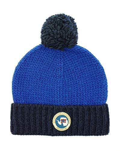 Napapijri Smu Fairfield heren muts met pompon hoed blauw Made in Italy