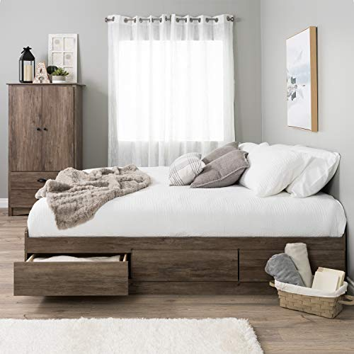 Prepac Mate's Platform Storage Bed with Drawers, King, Drifted Gray
