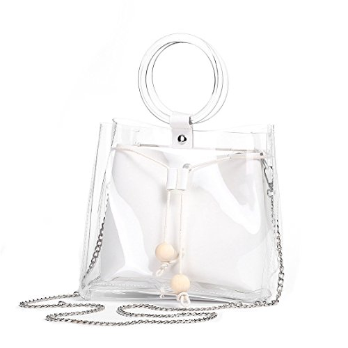 2 in 1 style. Each clear handbag is with a purse inside. Material: HIGH QUALITY PVC. Waterproof,stripe pattern,convenient and useful! clear design which makes you can find your daily neccessary things like keys,phone,mirror and so on easily! Dimensio...