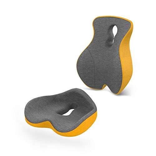 LYZL Cojín cóccix, Soporte Lumbar Almohada Volver Amortiguador del Asiento, Cintura y Cadera Conjunto, con el diseño de músculo distribuido Humano, M-Ranura de diseño,Amarillo