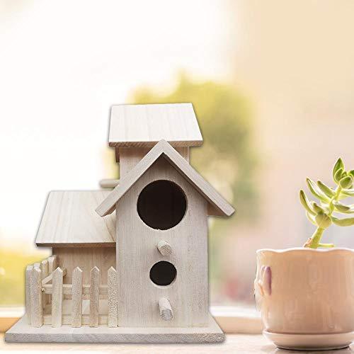 Seasons Shop Houten vogelhuisje, om op te hangen, nestkastje villa knutselen buiten, voor heffen, decoratie binnen en buiten, 3 huizen + omheining (20,5 15,5 15,5 15,5 cm) charming