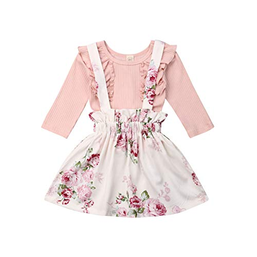 Toddler Baby Girl Plain Ruffle Top and Suspender Skirt Outfit Clothes Set (Pink, 4-5T)