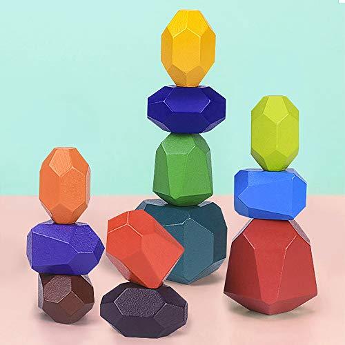 Juguetes de Apilamiento de Madera Piedras de Equilibrio Montessori para Niño Niña Juguete Educativo Bloques Colores Bloques de Construcción Ordenar Juego Decoración del Hogar (12 Pieces)