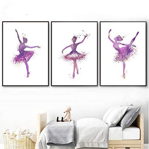 Moderne ballerina danseres en hoge hak poster abstracte druk canvas schilderij aangepaste afbeelding startpagina muurkunst graffiti decoratie 40x60cmx3 niet ingelijst