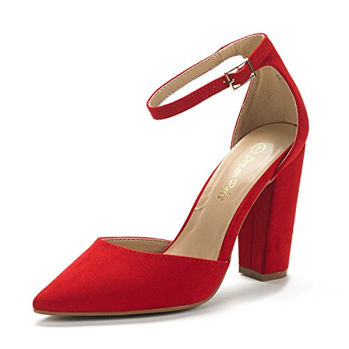 DREAM PAIRS Women's Coco Red Suede Mid Heel Pump Shoes - 9 M US