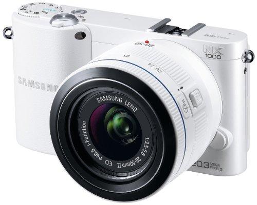 Samsung NX1000 Systemkamera (20 Megapixel, 7,6 cm (3 Zoll) Display) inkl. 20-50mm F3.5-5.6 ED II Objektiv weiß