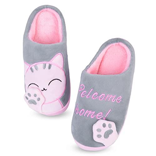 MoneRffi Unisex Katzen Hausschuhe Damen Winter Warm Plüsch Pantoffeln Paar Hausschuhe Weiche Bequeme Katze Pantoffeln rutschfeste Hausschuhe für Herren Mädchen Jungen (Grau Katze,38/39 EU)