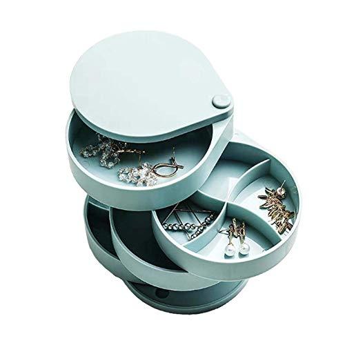 Piaoliangxue 4-Schicht Schmuck Box 360 Grad Drehbare Schmuck Organizer/für mädchen und Frauen auf die gehen/Kleine zylindrischen Lagerung Fall Zubehör für Ohrringe Halsketten Armbänder Ringe (Blau)