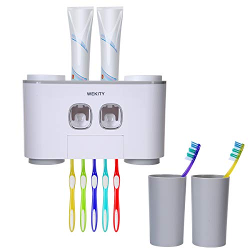 Toothbrush Holder WEKITY Multifunctional Wall-Mounted Space-Saving Toothbrush and Toothpaste...